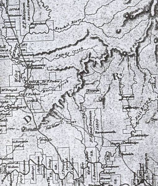 Map showing the probably route of Allan Cunningham through the Hunter Valley in 1827