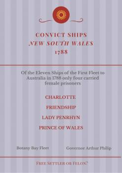 Female Convicts Ships to NSW in 1788