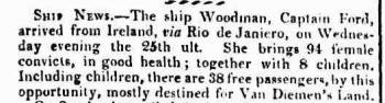Arrival of the convict ship Woodman in 1823