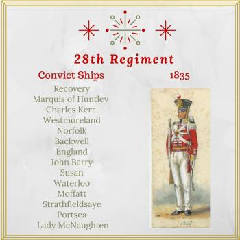 Convict Ships 1835 - 28th regiment guard