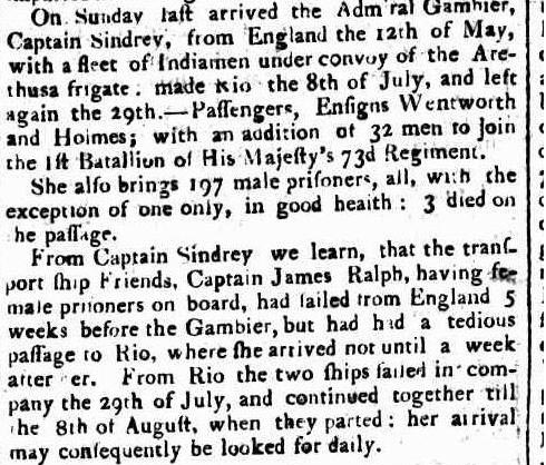 Arrival of the convict ship Admiral Gambier in 1811. - Sydney Gazette 5 October 1811