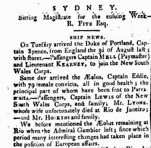 Arrival of the female convict ship Aeolus in Port Jackson in 1808 - Sydney Gazette 29 January 1809