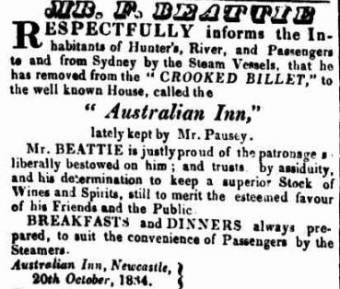 Francis Beattie - The Australian Inn, Newcastle - Sydney Gazette 21 October 1834