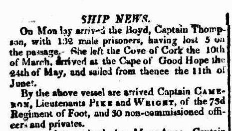 Arrival at Port Jackson of the convict ship Boyd in 1809. Sydney Gazette 20 August 1809