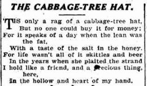 Poem The Cabbage Tree Hat by Mary Gilmore