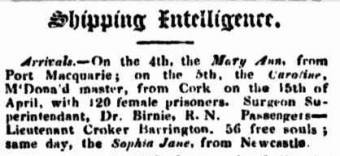 Arrival of the convict ship Caroline in 1833 - Sydney Monitor 7 August 1833