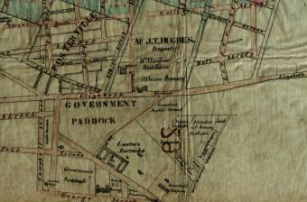 Map showing location of Carter's Barracks - Historical Atlas of Sydney