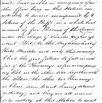 Correspondence from Lieutenant Owen of the Buffs to Headquarters re. the escape of convicts on the Eclipse. Charles Hughes assistant pilot in pursuit boat