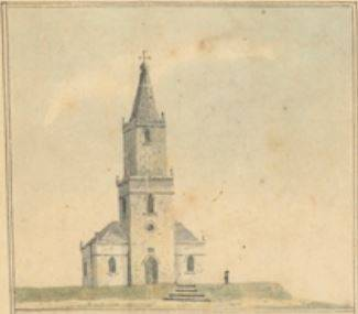 Church at Newcastle c. 1819 from Map entitled Port Hunter and its Branches c. 1819. State Library of NSW