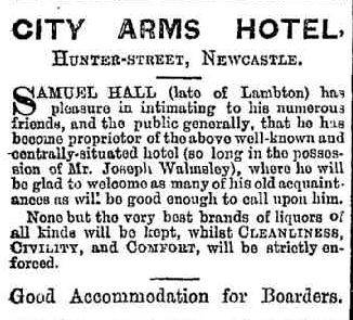 Samuel Hall taking over the City Arms Hotel at Newcastle