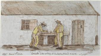 "Vigors, Philip Doyne ""Convicts"" Letter writing at Cockatoo Island N.S.W. ""Canary Birds"" 1849. State Library NSW"