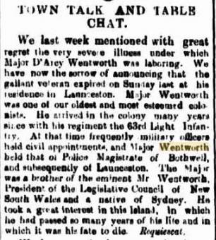 Obituary of Darcy Wentworth - Cornwall Chronicle 24 July 1861