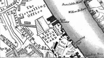 Section of Map of Deptford showing victualling office - George Crutchley, 1833.