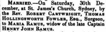 Marriage of Maria Ramus and Thomas H. Fowler - Colonial Times (Hobart, Tas. : 1828 - 1857) Tue 16 Jan 1838
