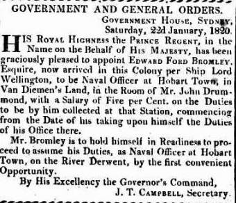 Edward Foord's Appointment as Naval Officer in 1820