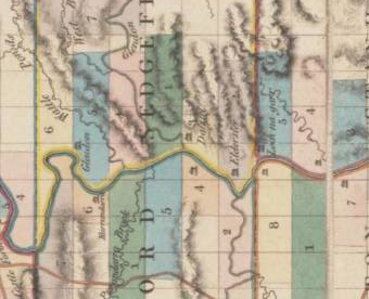 Map showing the location of Archibald Bell's estate Corinda. Shown as Kurrandarra on J. Cross's 1828 Map of the Hunter