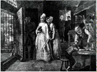 Elizabeth Fry visiting Newgate to read to prisoners