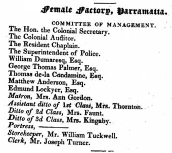 Management Committee at the Parramatta Female Factory in 1831