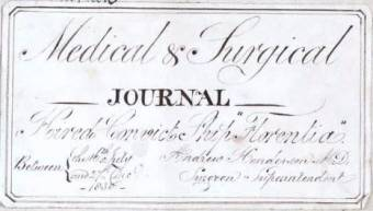 Front Cover Medical Journal Convict Ship Florentia 1830. Surgeon Andrew Henderson