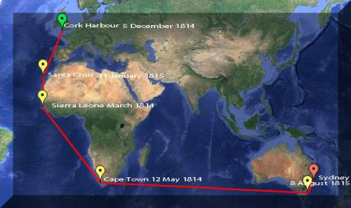 Map of the voyage of the Francis and Eliza in 1815