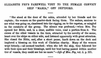 Elizabeth Fry's farewell to the convicts of the Maria at Deptford in 1818