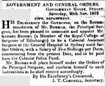 George Brooks appointed Assistant Surgeon - Sydney Gazette 20 November 1819
