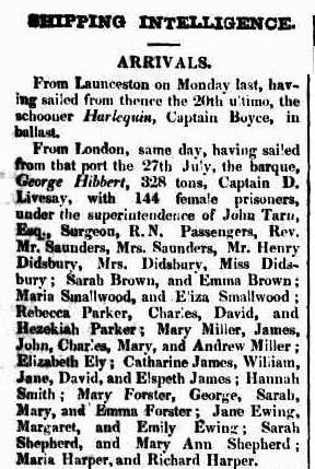 Arrival of the convict ship George Hibbert in 1834. Sydney Herald 4 December 1834.