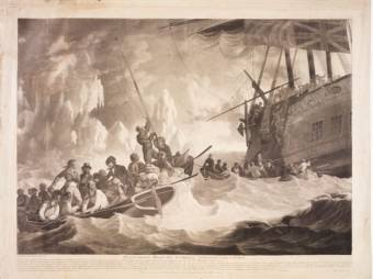 Part of the Crew of His Majesty's Ship Guardian endeavouring to escape in the Boats 1789