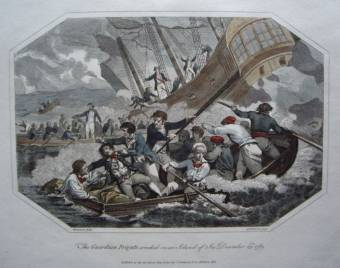 Guardian Frigate Wrecked on an Island of Ice 23 December 1789. Early copper plate engraving ' The Guardian Frigate wrecked on an Island of Ice December 23rd 1789'. Published in Holborn Hill, London by J Stratford in 1802. The picture was engraved by A W Warren from an original painting by Benezach