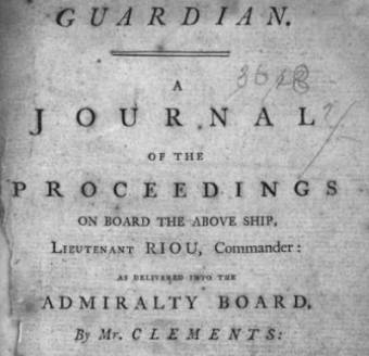 Journal of the proceedings on the Guardian, Commander Lieutenant Riou