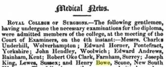 Henry Bowe's Medical Qualifications. The Lancet
