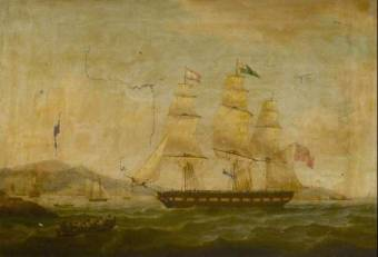 Hibernia Beating off the Privateer Comet, 10 January 1814: Returning to Port; Thomas Whitcombe, National Maritime Museum