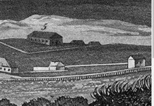 Hospital at Newcastle c. 1828 - from Dangar's View of Kingstown