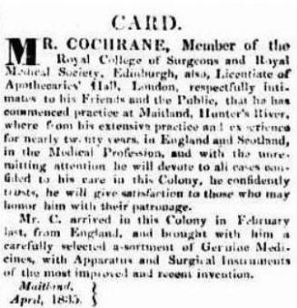 James Cochrane - Sydney Herald 9 April 1835