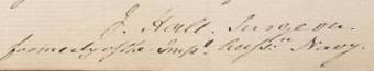 Signature of James Hall, surgeon-superintendent on the Agamemnon in 1820