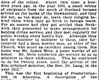 James Mein elder of the Presbyterian Church at Portland Head - Evening News 1 February 1902