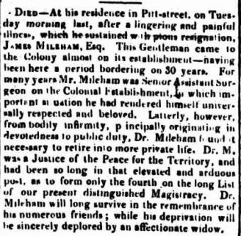 Death of James Mileham - Sydney Gazette 30 September 1824