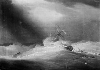 The Lady Castlereagh dismasted in a cyclone off Madras 24 October 1818 Royal Museum Greenwich