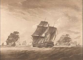 Plate II. The Lady Juliana in tow of the Pallas Frigate. The Sailors Fishing the main Mast which was shatter'd by Lightning Print Plate II. The Lady Juliana in tow of the Pallas Frigate. The Sailors Fishing the main Mast which was shatter'd by Lightning. John Harris; Robert Dodd (artist and engraver)