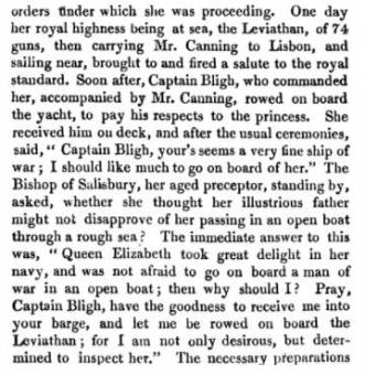 Princess Charlotte on board the Leviathan in 1814. The Percy Anecdotes