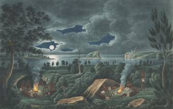 Aborigines resting by camp fire, near the mouth of the Hunter River, Newcastle by Joseph Lycett - National Library of Australia