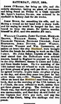 Crew of the convict ship Maitland Sydney Monitor 22 July 1840