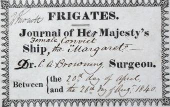 Front Page of the Surgeon's Journal of the convict ship Margaret