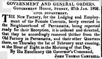 Notice re removal of women to the new Factory at Parramatta in 1821