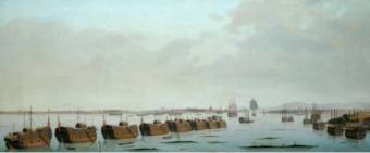 A Row of prison hulks in Portsmouth Harbour. Artist/Maker Garneray, Ambrose-Louis - National Maritime Museum