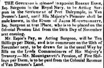 Appointment of Robert Espie to the position of Acting Surgeon at Port Dalrymple - Sydney Gazette 21 October 1820