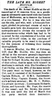 Obituary of Robert Hoddle - The Argus 29 October 1881