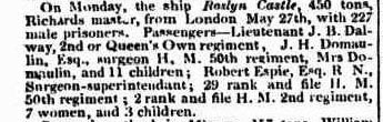 Arrival of the Convict Ship Roslin Castle 1834. Sydney Monitor 17 September 1834
