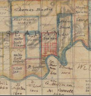 Map showing the location of Andrew Dixon's land