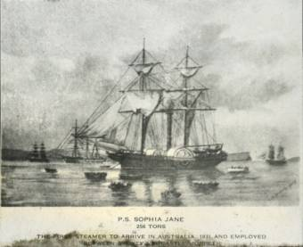 """Sophia Jane"", 256 Tons, The First Steamer to Arrive in Australia, 1831, and Employed Between Sydney, Newcastle, Morpeth - University of Newcastle - Living Histories - Donated by E. Braggett"